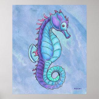 Impresión azul del Seahorse Póster