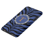 Impresión azul del tigre con el monograma iPod touch Case-Mate protectores