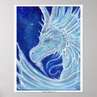 Impresión azul helada del poster del dragón de