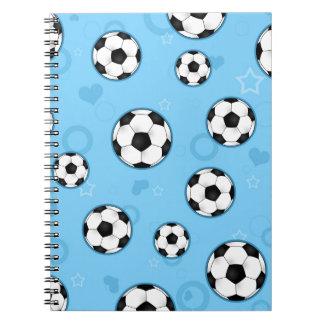 Impresión azul linda de la estrella de fútbol spiral notebooks
