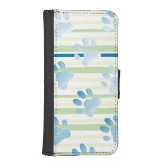 Impresión azul rayada de la pata fundas billetera para teléfono
