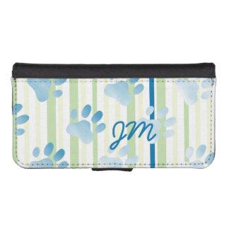 Impresión azul rayada personalizada de la pata funda billetera para teléfono