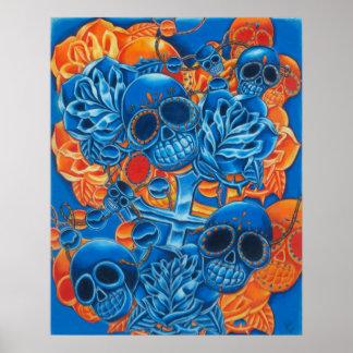 Impresión azul y anaranjada de los cráneos posters
