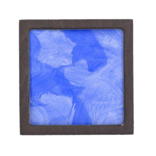 Impresión azul y blanca de la acuarela caja de joyas de calidad