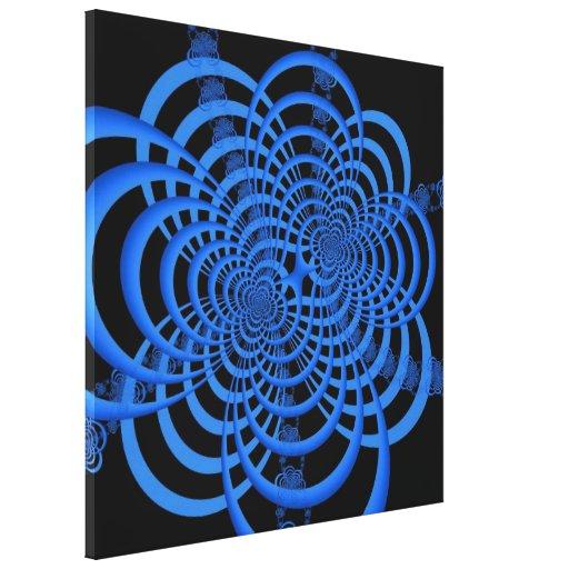 Impresión azul y negra de la lona del enrejado lienzo envuelto para galerias
