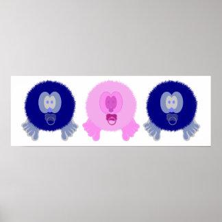 Impresión azul y rosada del poster de los bebés de