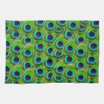 Impresión azul y verde brillante linda del pavo re toalla de cocina
