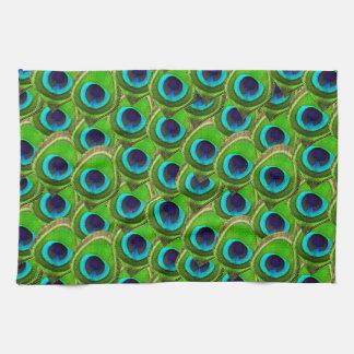 Impresión azul y verde brillante linda del pavo re toallas de mano