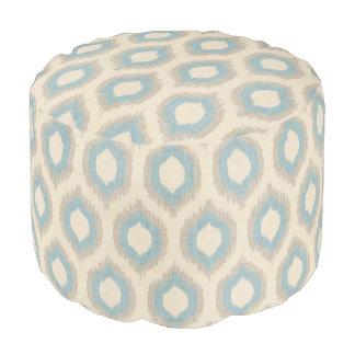 Impresión beige y azul de lino rústica de Ikat