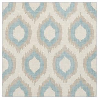 Impresión beige y azul de lino rústica de Ikat Telas