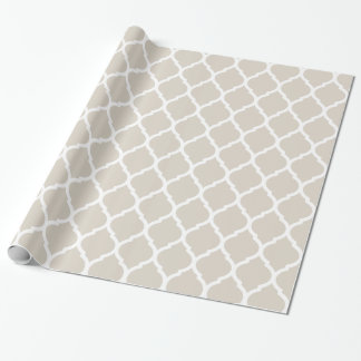 Impresión beige y blanca de lino de Quatrefoil del Papel De Regalo