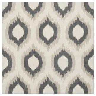 Impresión beige y gris de lino rústica de Ikat Telas