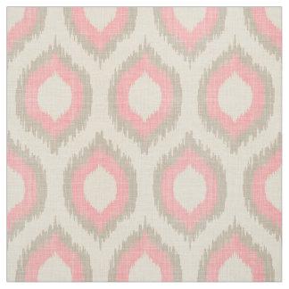 Impresión beige y rosada de lino rústica de Ikat Telas