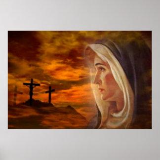 Impresión bendecida del Calvary del Virgen María Posters