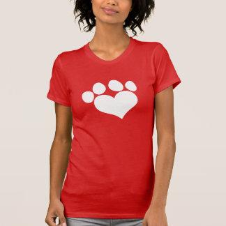 Impresión blanca 2 de la pata del corazón camiseta