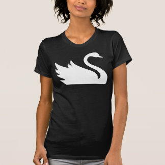 Impresión blanca bonita del pájaro del cisne polera