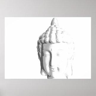 Impresión blanca de Buda del zen por B y BB Poster