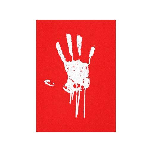 Impresión blanca de la mano lona envuelta para galerias