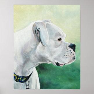 Impresión blanca del arte del perro del boxeador póster