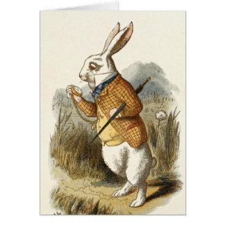 Impresión blanca del conejo de Alicia en el país Tarjeta Pequeña