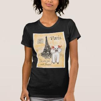 Impresión blanca del estilo del vintage de la torr camiseta