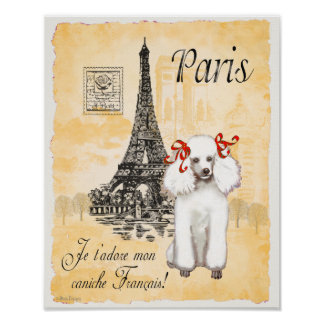 Impresión blanca del vintage de la torre Eiffel de Póster