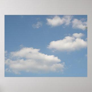 Impresión blanca mullida de las nubes de cúmulo impresiones