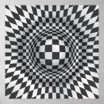 Impresión blanca negra/poster de la ilusión óptica