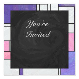 """Impresión blanca púrpura rosada de Mondrian Invitación 5.25"""" X 5.25"""""""