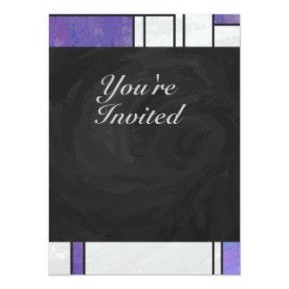 """Impresión blanca púrpura rosada de Mondrian Invitación 5.5"""" X 7.5"""""""