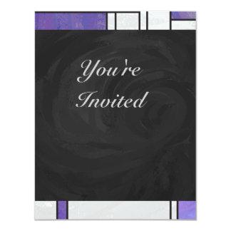 """Impresión blanca púrpura rosada de Mondrian Invitación 4.25"""" X 5.5"""""""