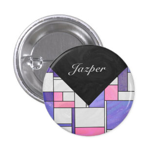 Impresión blanca púrpura rosada de Mondrian Chapa Redonda 2,5 Cm