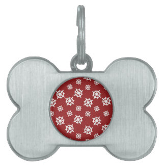 Impresión blanca roja del timón placa de nombre de mascota