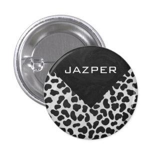 Impresión blanco y negro dálmata pin redondo 2,5 cm