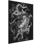 Impresión blanco y negro de la lona del dragón lona estirada galerias