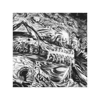 Impresión blanco y negro de la lona del infierno lienzo envuelto para galerias