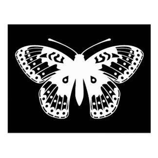 Impresión blanco y negro de la mariposa del tarjetas postales