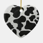 Impresión blanco y negro de la vaca ornamentos de reyes