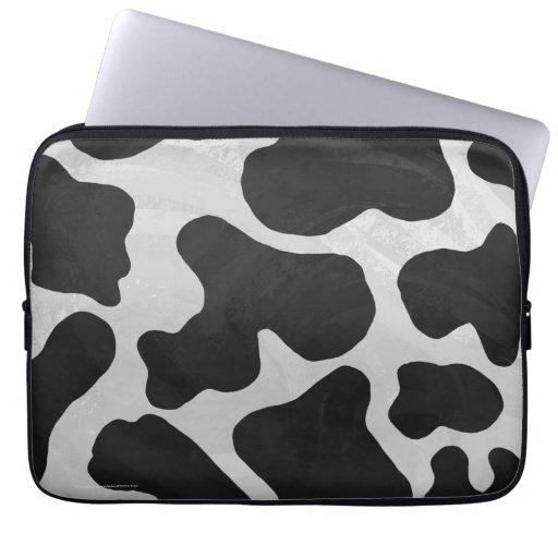 Impresión blanco y negro de la vaca funda computadora