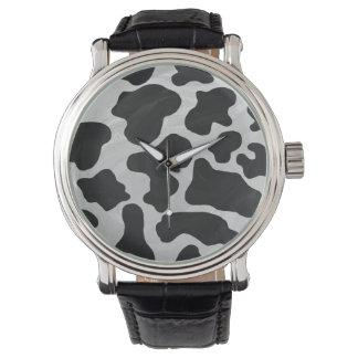 Impresión blanco y negro de la vaca relojes de mano
