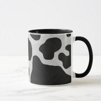 Impresión blanco y negro de la vaca taza