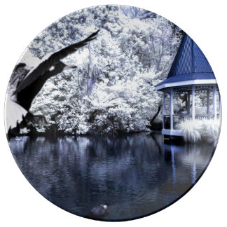 Impresión blanco y negro de patos, de un lago, y platos de cerámica
