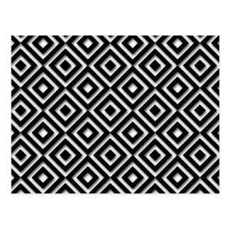 Impresión blanco y negro del diamante postal