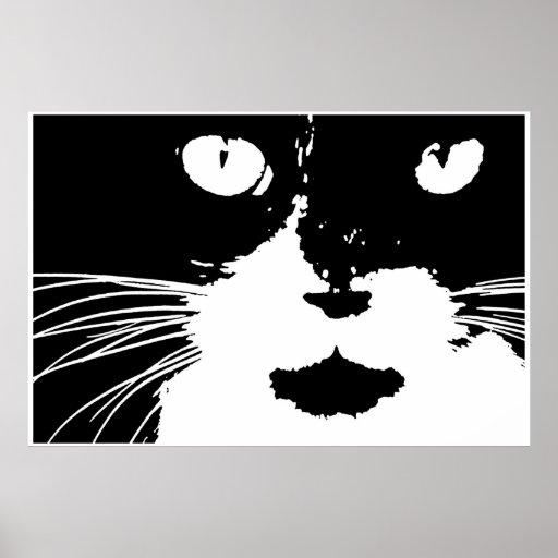 Impresión blanco y negro del gato del remiendo del impresiones