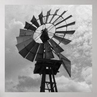 Impresión blanco y negro del molino de viento