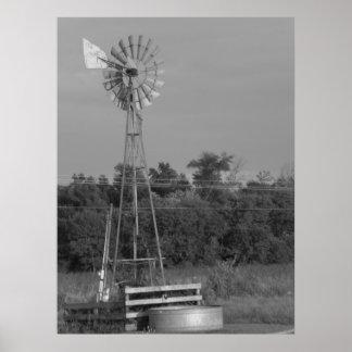Impresión blanco y negro del molino de viento 3 póster
