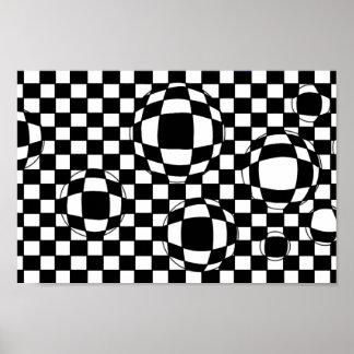 Impresión blanco y negro del poster de las burbuja