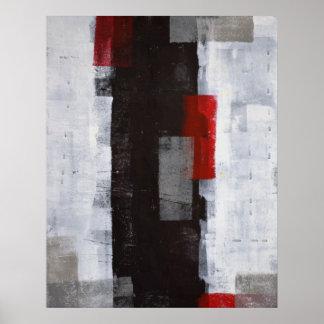 Impresión blanco y negro del poster del arte abstr