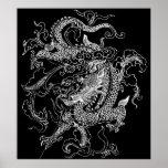 Impresión blanco y negro del poster del dragón