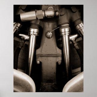 Impresión blanco y negro del poster del motor del